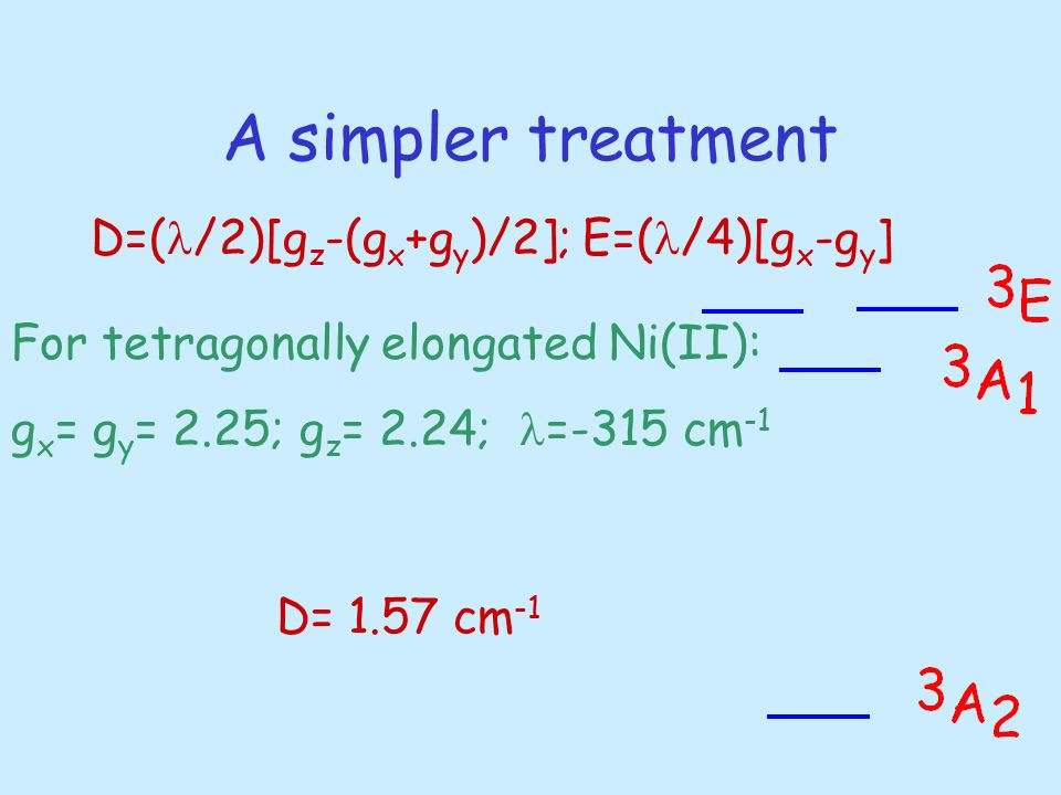 A simpler treatment D=( /2)[g z -(g x +g y )/2]; E=( /4)[g x -g y ] For tetragonally elongated Ni(II): g x = g y = 2.25; g z = 2.24; =-315 cm -1 D= 1.57 cm -1