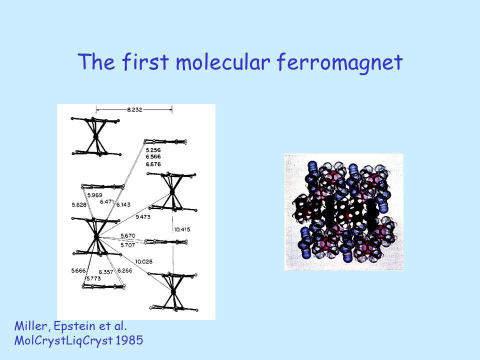 The first molecular ferromagnet Miller, Epstein et al. MolCrystLiqCryst 1985
