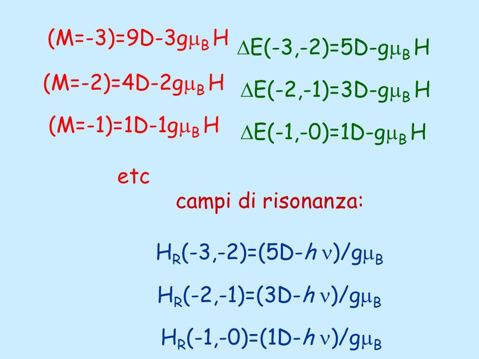 (M=-3)=9D-3g  B H (M=-2)=4D-2g  B H (M=-1)=1D-1g  B H etc  E(-3,-2)=5D-g  B H  E(-2,-1)=3D-g  B H  E(-1,-0)=1D-g  B H campi di risonanza: H R