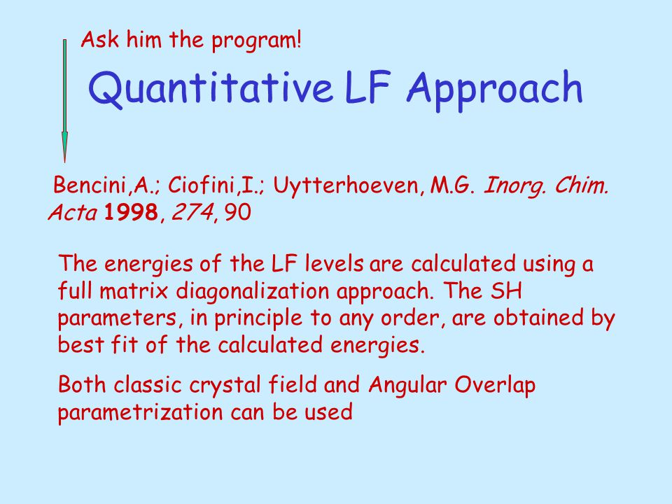 Quantitative LF Approach Bencini,A.; Ciofini,I.; Uytterhoeven, M.G. Inorg. Chim. Acta 1998, 274, 90 The energies of the LF levels are calculated using