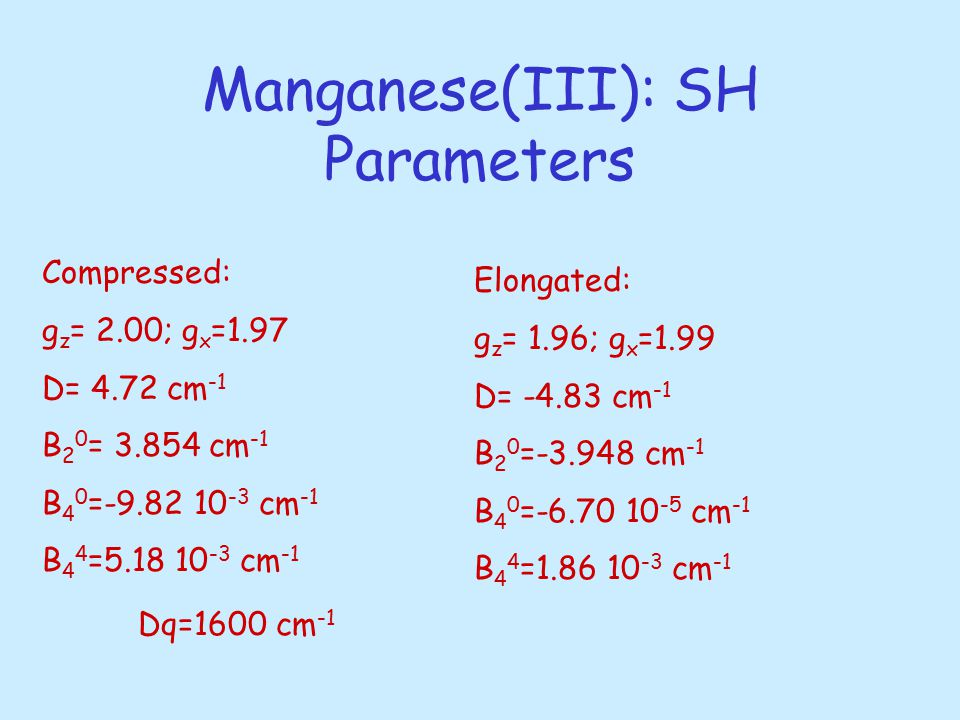 Manganese(III): SH Parameters Compressed: g z = 2.00; g x =1.97 D= 4.72 cm -1 B 2 0 = 3.854 cm -1 B 4 0 =-9.82 10 -3 cm -1 B 4 4 =5.18 10 -3 cm -1 Elongated: g z = 1.96; g x =1.99 D= -4.83 cm -1 B 2 0 =-3.948 cm -1 B 4 0 =-6.70 10 -5 cm -1 B 4 4 =1.86 10 -3 cm -1 Dq=1600 cm -1