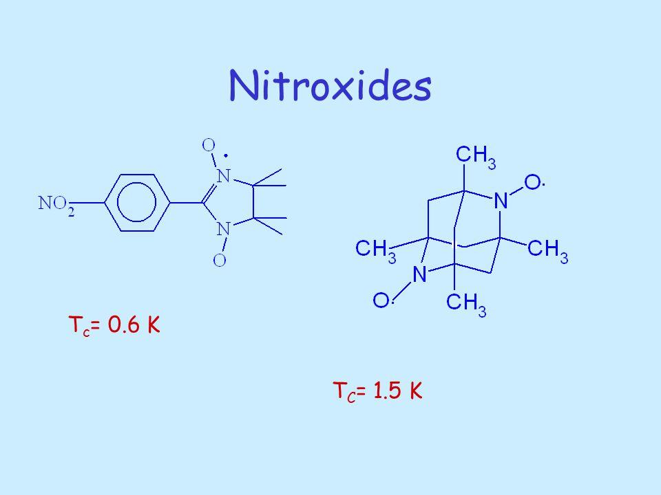 Nitroxides T c = 0.6 K T C = 1.5 K