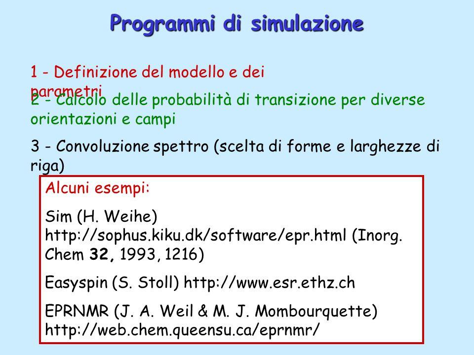 Programmi di simulazione Alcuni esempi: Sim (H. Weihe) http://sophus.kiku.dk/software/epr.html (Inorg. Chem 32, 1993, 1216) Easyspin (S. Stoll) http:/