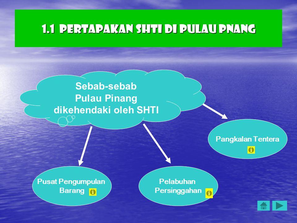 1.1 Pertapakan SHTI di Pulau Pnang Sebab-sebab Pulau Pinang dikehendaki oleh SHTI Pusat Pengumpulan Barang Pelabuhan Persinggahan Pangkalan Tentera
