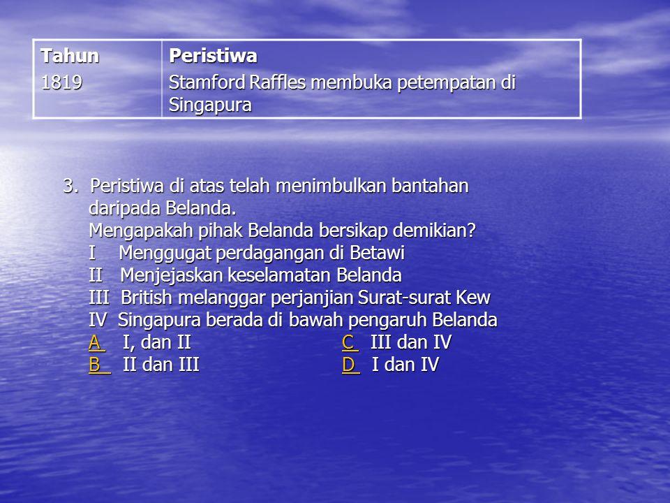 2. Perjanjian di atas telah mengiktiraf Tengku Hussein sebagai sultan Johor. Siapakah X? A George Leith B Francis Light C J. G Davidson D Stamford Raf
