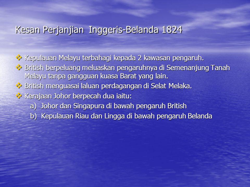 1.Belanda mengiktiraf petempatan British di Singapura. 2.Belanda berjanji tidak akan membuka petempatan baru di Tanah Melayu 3. British menyerahkan Ba