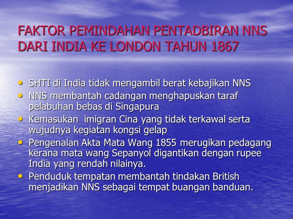 STRUKTUR PENTADBIRAN NNS GABENOR JENERAL BRITISH (DI INDIA) GABENOR NNS RESIDEN KONSULER PULAU PINANG RESIDEN KONSULER SINGAPURA RESIDEN KONSULER MELA