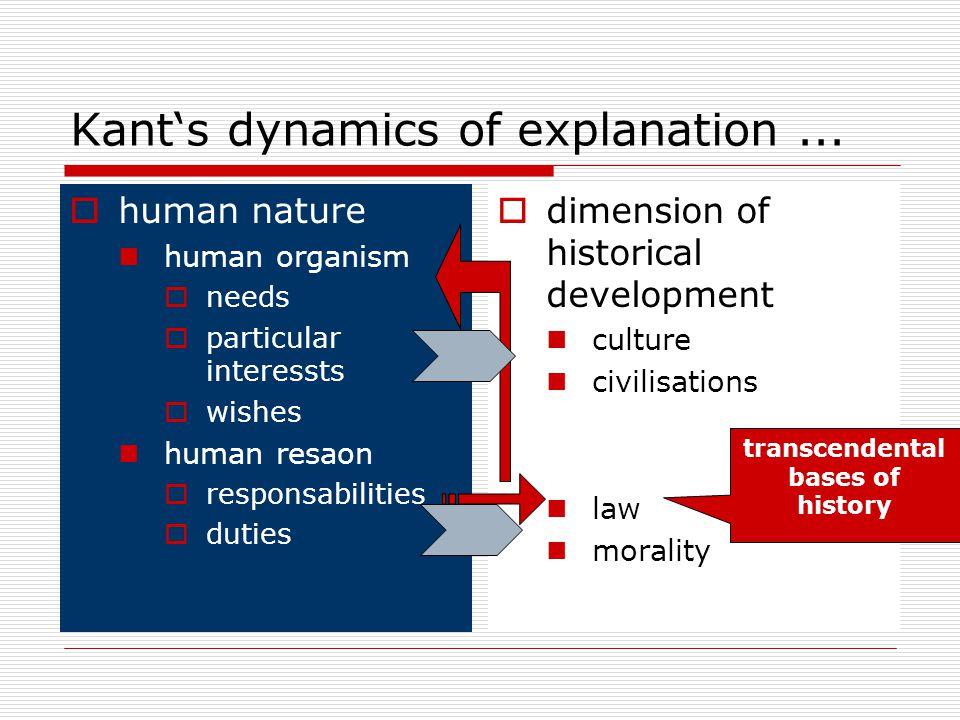Kant's dynamics of explanation...  human nature human organism  needs  particular interessts  wishes human resaon  responsabilities  duties  di