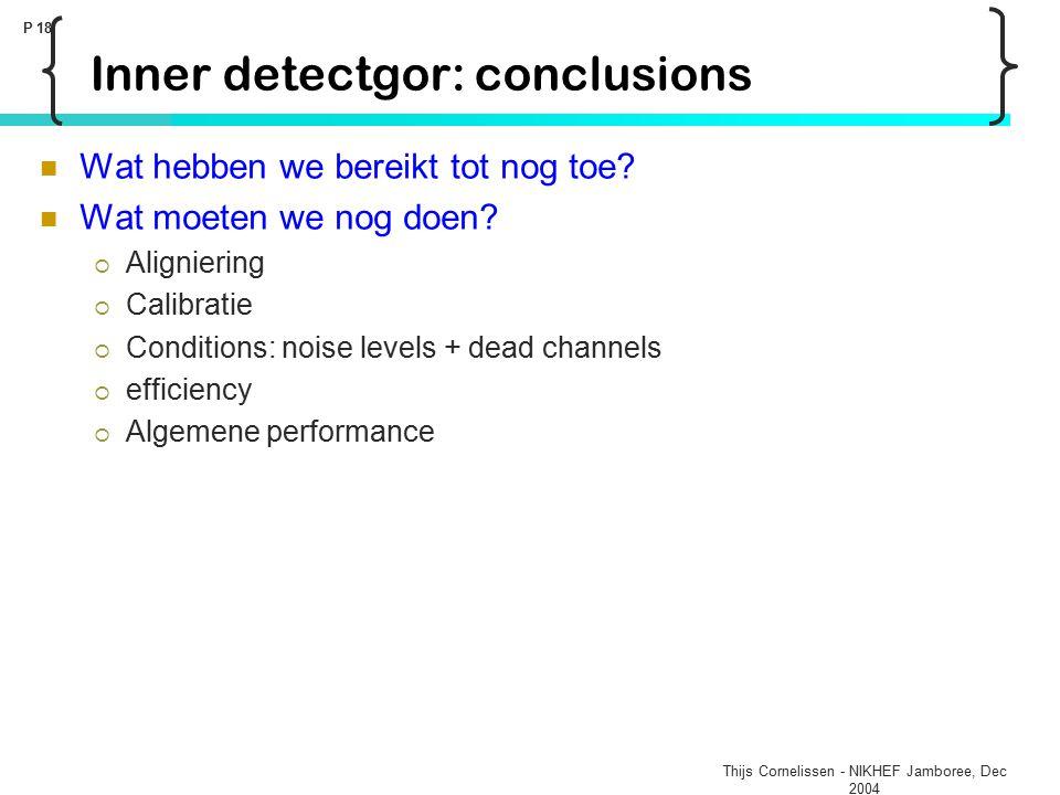Thijs Cornelissen - NIKHEF Jamboree, Dec 2004 P 18 Inner detectgor: conclusions Wat hebben we bereikt tot nog toe? Wat moeten we nog doen?  Alignieri