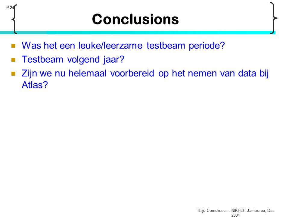 Thijs Cornelissen - NIKHEF Jamboree, Dec 2004 P 24 Conclusions Was het een leuke/leerzame testbeam periode? Testbeam volgend jaar? Zijn we nu helemaal
