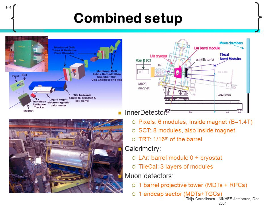 Thijs Cornelissen - NIKHEF Jamboree, Dec 2004 P 4 Combined setup InnerDetector:  Pixels: 6 modules, inside magnet (B=1.4T)  SCT: 8 modules, also ins