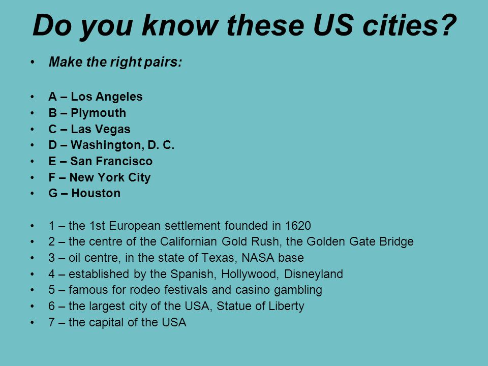 Do you know these US cities.