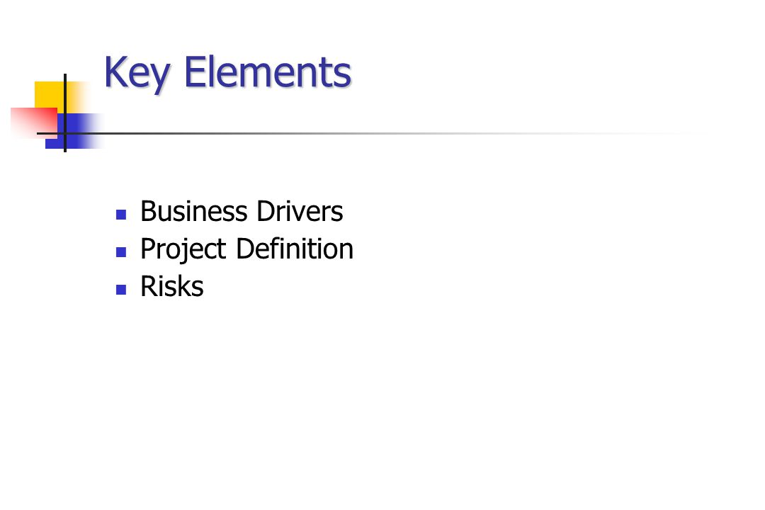 Key Elements Business Drivers Project Definition Risks