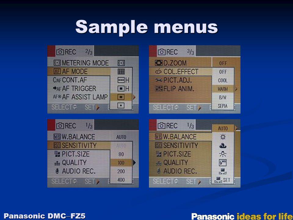 Sample menus Panasonic DMC  FZ5
