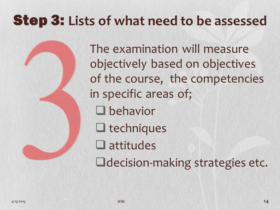 Step 3: Lists of what need to be assessed The examination will measure objectively based on objectives of the course, the competencies in specific areas of;  behavior  techniques  attitudes  decision-making strategies etc.