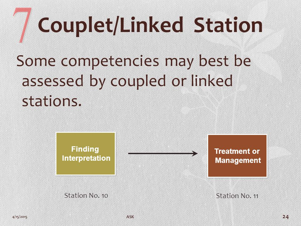 Couplet/Linked Station Some competencies may best be assessed by coupled or linked stations.