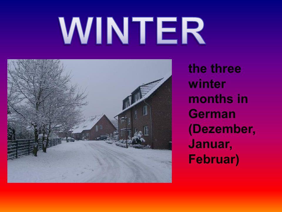 the three winter months in German (Dezember, Januar, Februar)