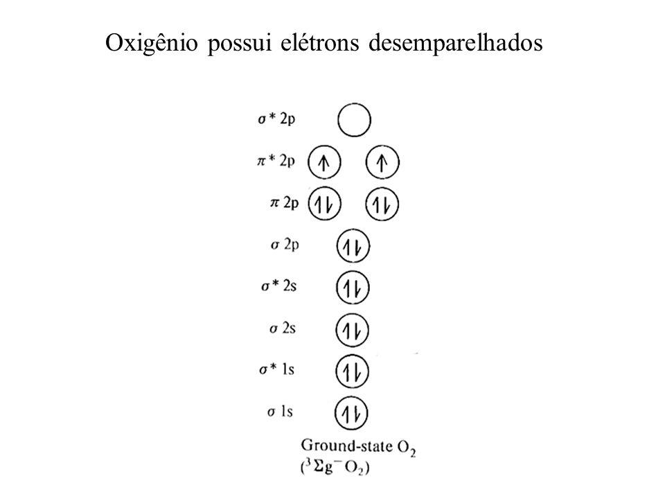 Oxigênio possui elétrons desemparelhados