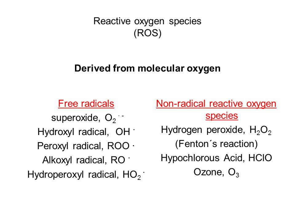 Reactive oxygen species (ROS) Derived from molecular oxygen Free radicals superoxide, O 2 · - Hydroxyl radical, OH · Peroxyl radical, ROO · Alkoxyl radical, RO · Hydroperoxyl radical, HO 2 · Non-radical reactive oxygen species Hydrogen peroxide, H 2 O 2 (Fenton´s reaction) Hypochlorous Acid, HClO Ozone, O 3