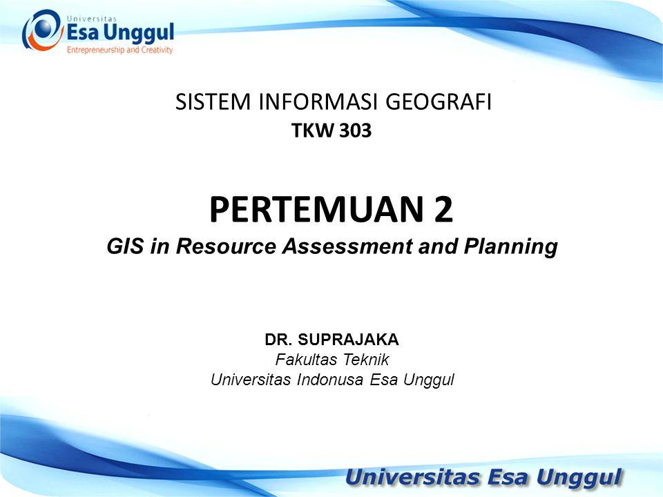 SISTEM INFORMASI GEOGRAFI TKW 303 DR.
