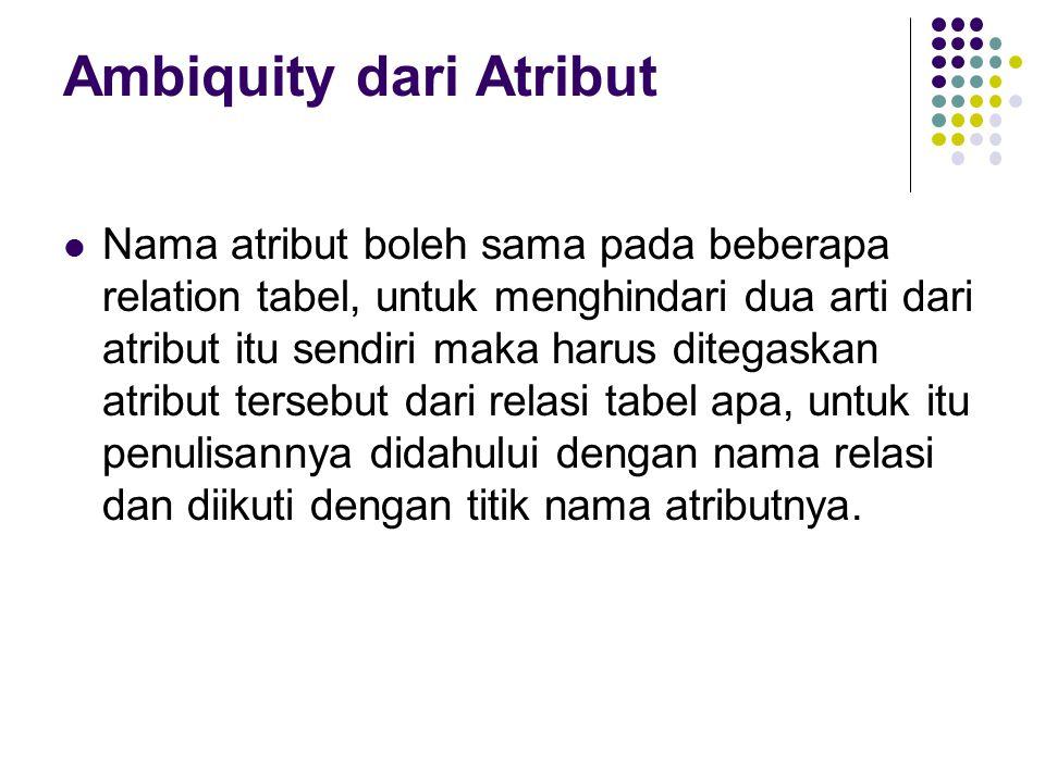 Ambiquity dari Atribut Nama atribut boleh sama pada beberapa relation tabel, untuk menghindari dua arti dari atribut itu sendiri maka harus ditegaskan atribut tersebut dari relasi tabel apa, untuk itu penulisannya didahului dengan nama relasi dan diikuti dengan titik nama atributnya.