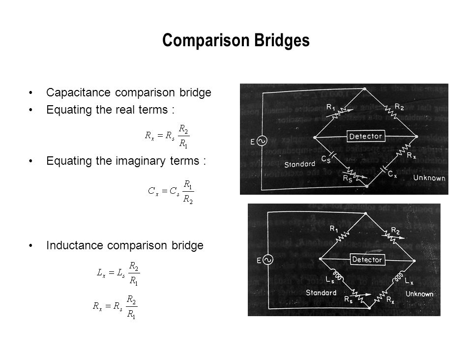 Comparison Bridges Capacitance comparison bridge Equating the real terms : Equating the imaginary terms : Inductance comparison bridge