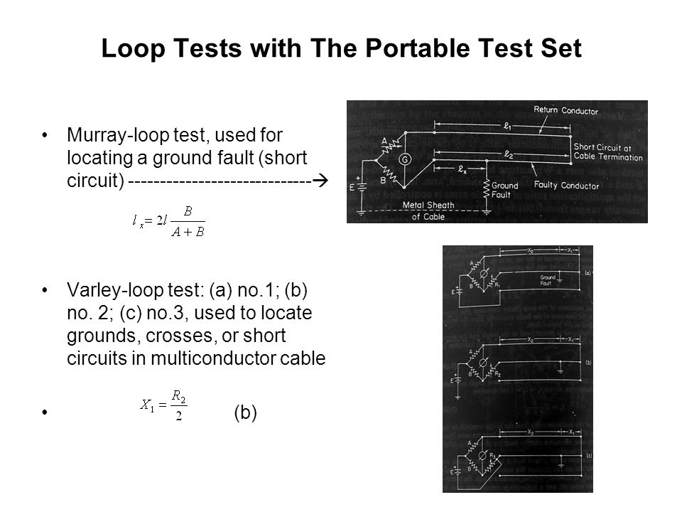 Loop Tests with The Portable Test Set Murray-loop test, used for locating a ground fault (short circuit) -----------------------------  Varley-loop t