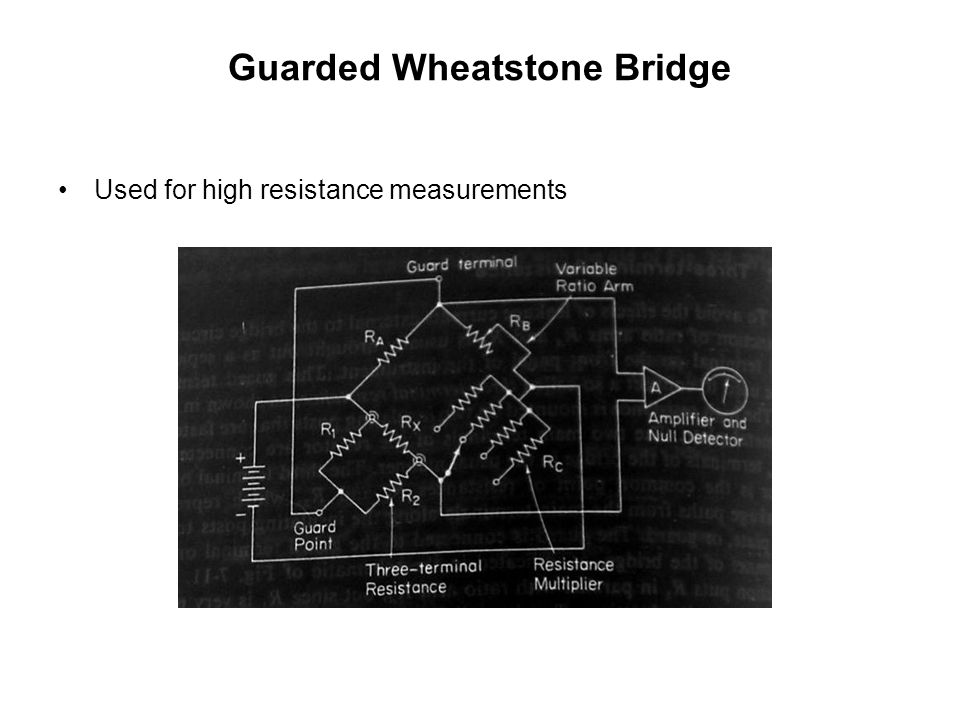 Guarded Wheatstone Bridge Used for high resistance measurements