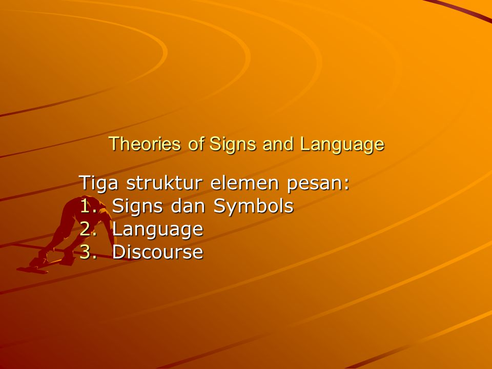 Signification: is the meaning of a sign- a simple stimulus announcing the presence of some object Denotation: is the relation of symbol to its object Connotation: is the direct relation between the symbol and the conception