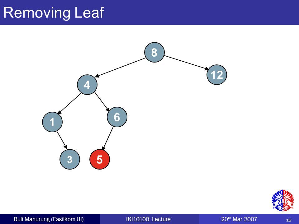 16 Ruli Manurung (Fasilkom UI)IKI10100: Lecture 20 th Mar 2007 Removing Leaf 8 4 5 12 1 6 3