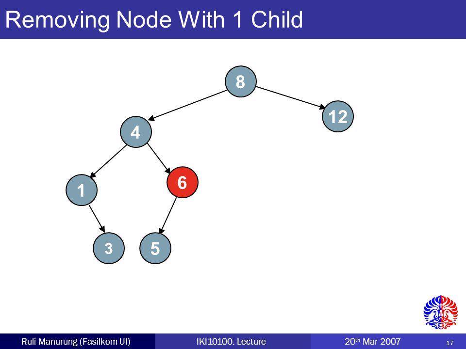 17 Ruli Manurung (Fasilkom UI)IKI10100: Lecture 20 th Mar 2007 Removing Node With 1 Child 8 4 5 12 1 6 3