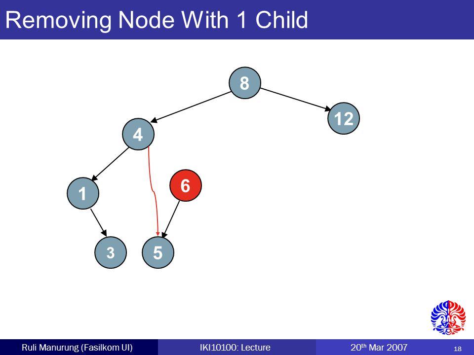 18 Ruli Manurung (Fasilkom UI)IKI10100: Lecture 20 th Mar 2007 Removing Node With 1 Child 8 4 5 12 1 6 3