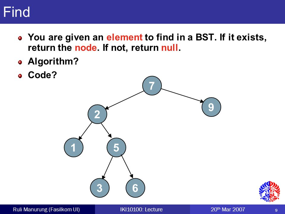 9 Ruli Manurung (Fasilkom UI)IKI10100: Lecture 20 th Mar 2007 Find You are given an element to find in a BST.