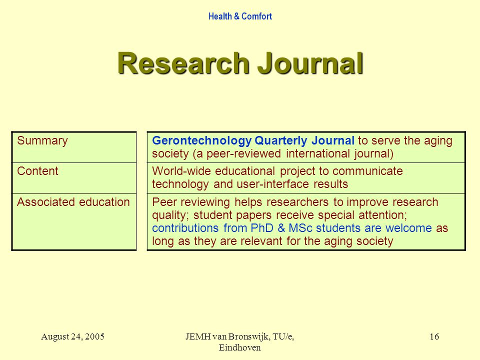 Health & Comfort August 24, 2005JEMH van Bronswijk, TU/e, Eindhoven 16 Research Journal SummaryGerontechnology Quarterly Journal to serve the aging society (a peer-reviewed international journal) ContentWorld-wide educational project to communicate technology and user-interface results Associated educationPeer reviewing helps researchers to improve research quality; student papers receive special attention; contributions from PhD & MSc students are welcome as long as they are relevant for the aging society