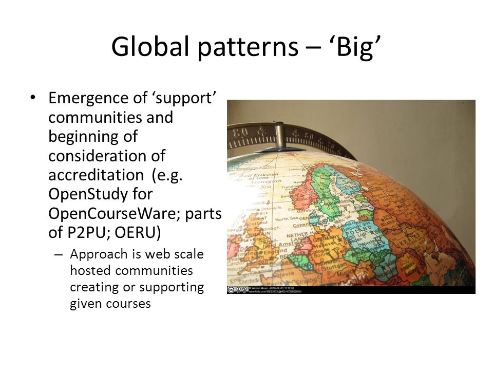 Global patterns – 'Big' Emergence of 'support' communities and beginning of consideration of accreditation (e.g.