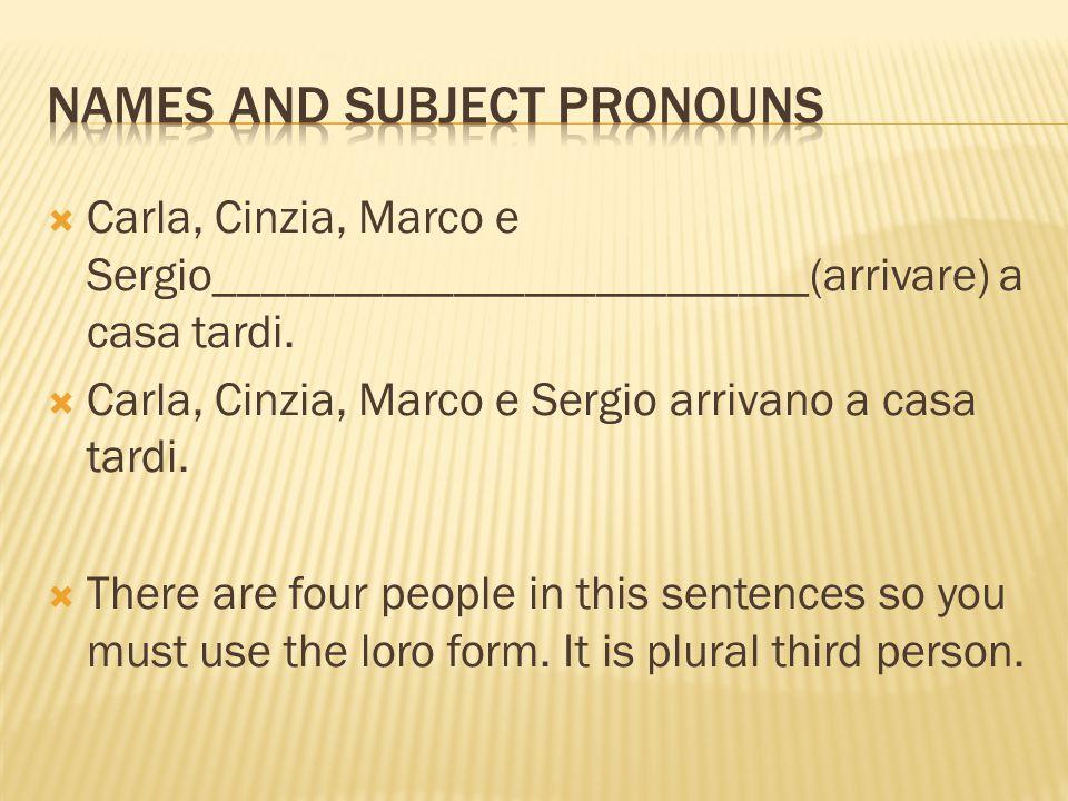  Carla, Cinzia, Marco e Sergio_________________________(arrivare) a casa tardi.