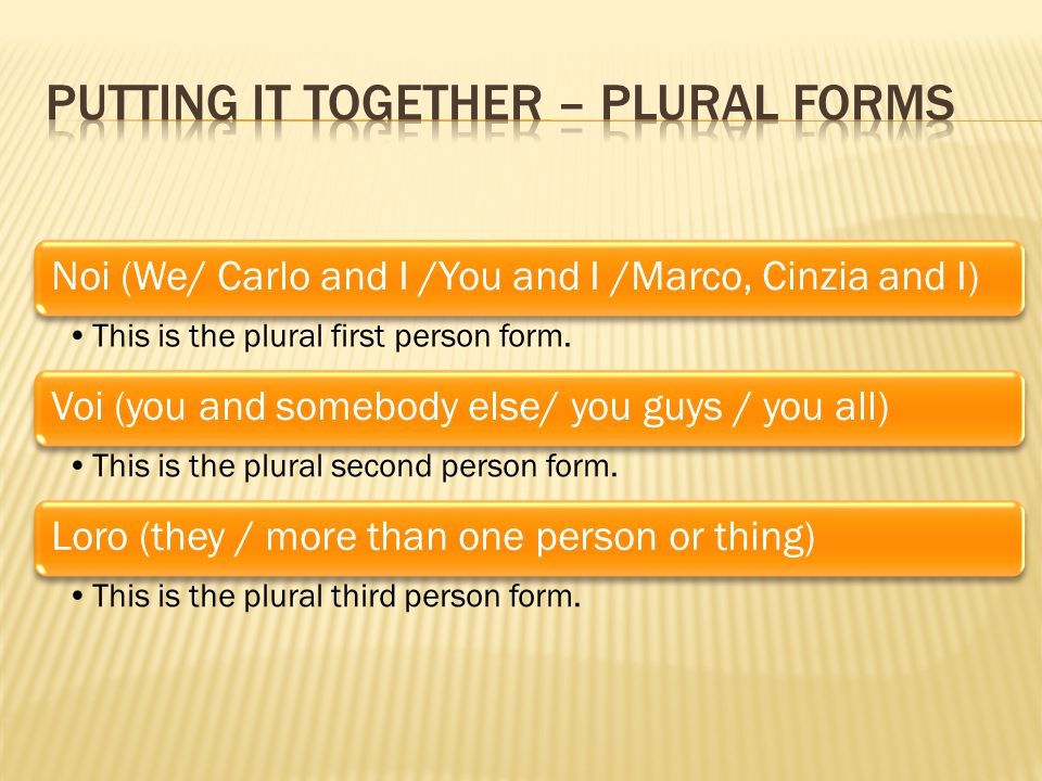 Noi (We/ Carlo and I /You and I /Marco, Cinzia and I) This is the plural first person form.