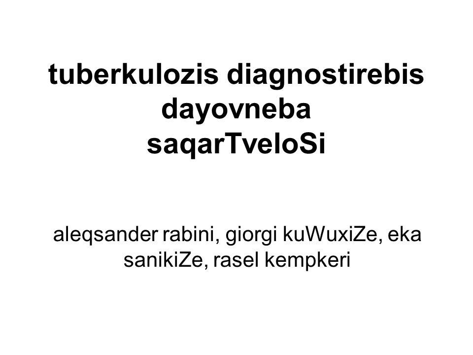 tuberkulozis diagnostirebis dayovneba saqarTveloSi aleqsander rabini, giorgi kuWuxiZe, eka sanikiZe, rasel kempkeri