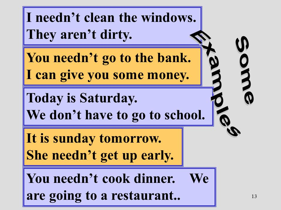 13 I needn't clean the windows. They aren't dirty. You needn't go to the bank. I can give you some money. Today is Saturday. We don't have to go to sc