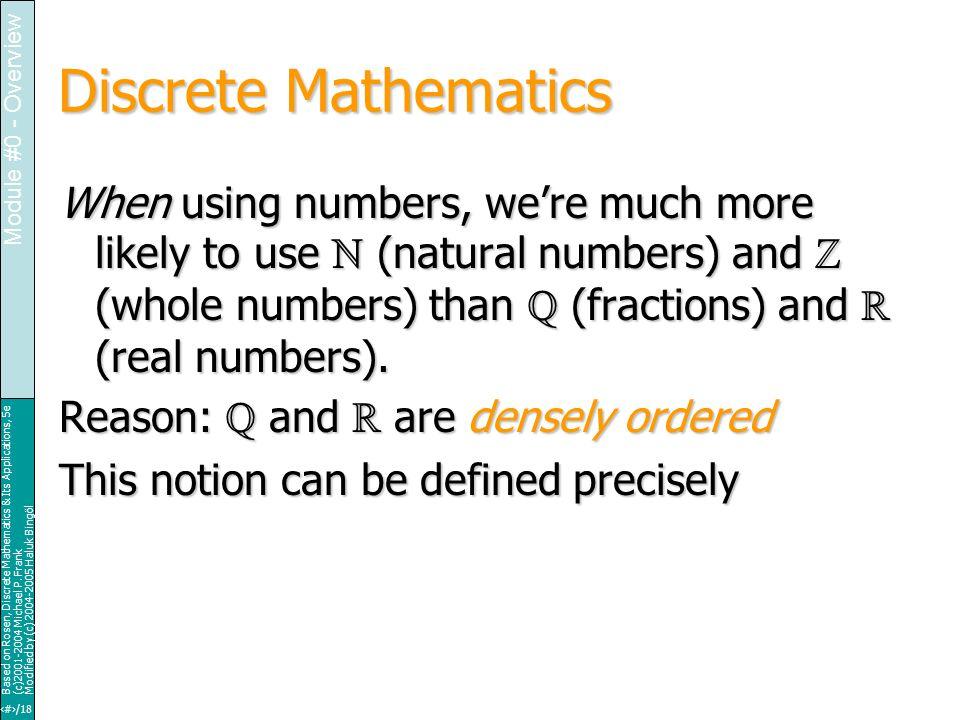 15/18 Based on Rosen, Discrete Mathematics & Its Applications, 5e (c)2001-2004 Michael P.