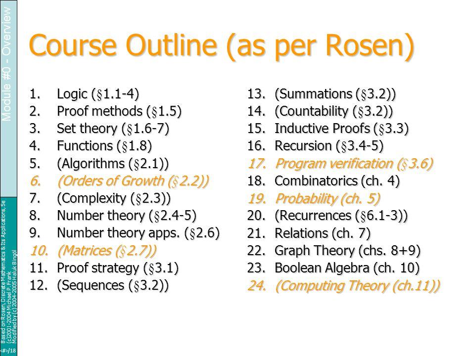 23/18 Based on Rosen, Discrete Mathematics & Its Applications, 5e (c)2001-2004 Michael P.