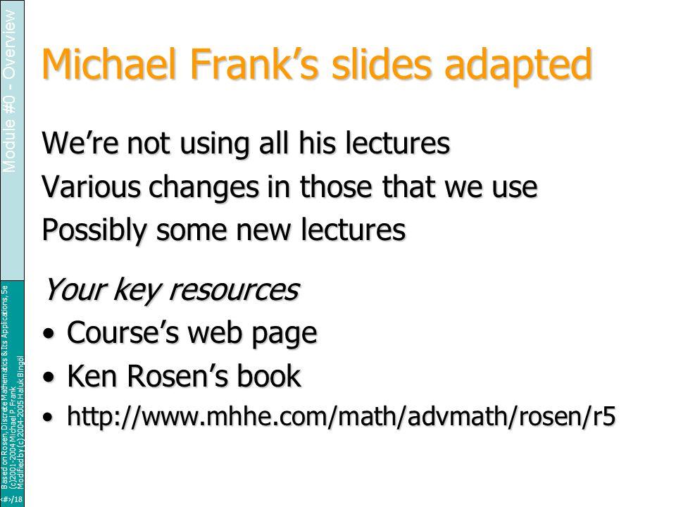 9/18 Based on Rosen, Discrete Mathematics & Its Applications, 5e (c)2001-2004 Michael P.