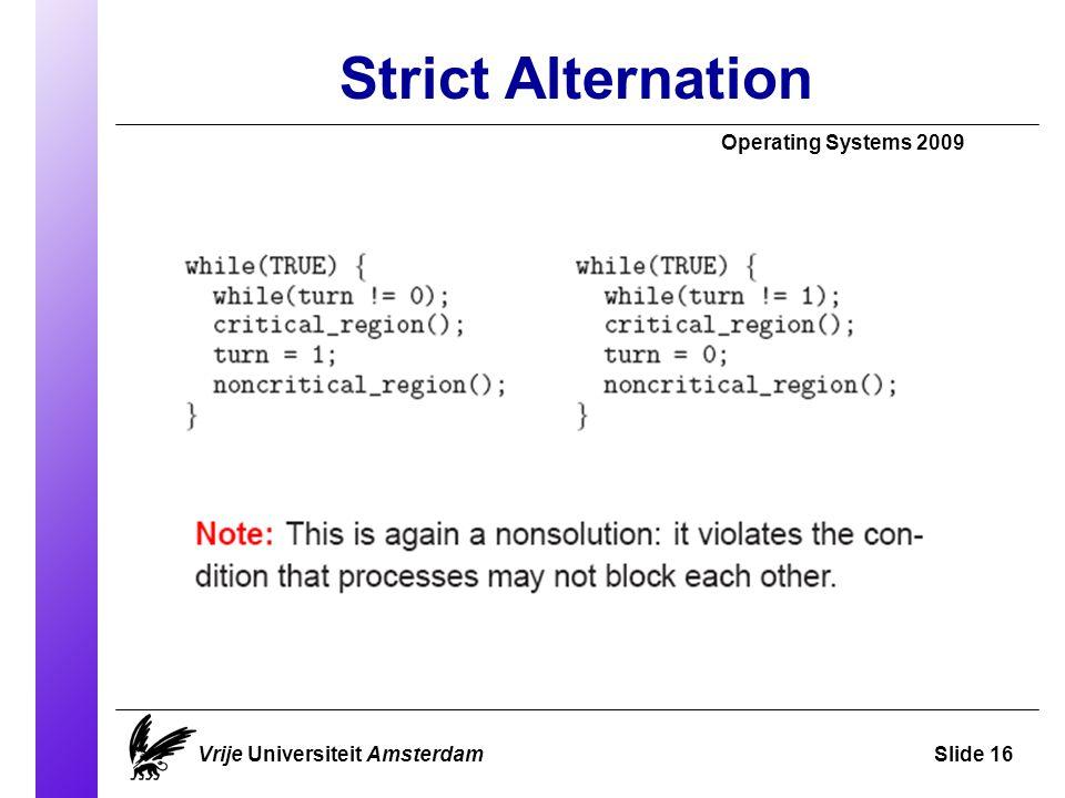 Strict Alternation Operating Systems 2009 Vrije Universiteit AmsterdamSlide 16