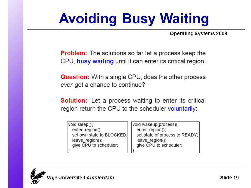 Avoiding Busy Waiting Operating Systems 2009 Vrije Universiteit AmsterdamSlide 19