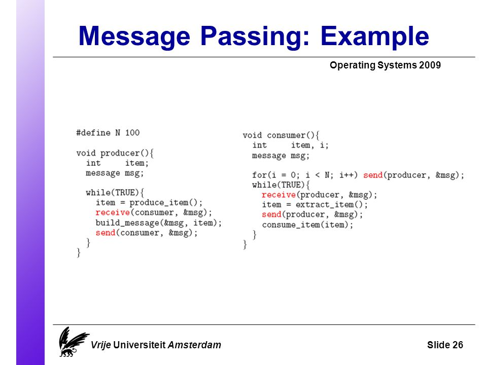 Message Passing: Example Operating Systems 2009 Vrije Universiteit AmsterdamSlide 26