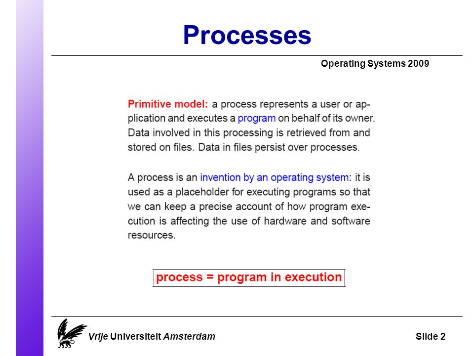 Processes Operating Systems 2009 Vrije Universiteit AmsterdamSlide 2