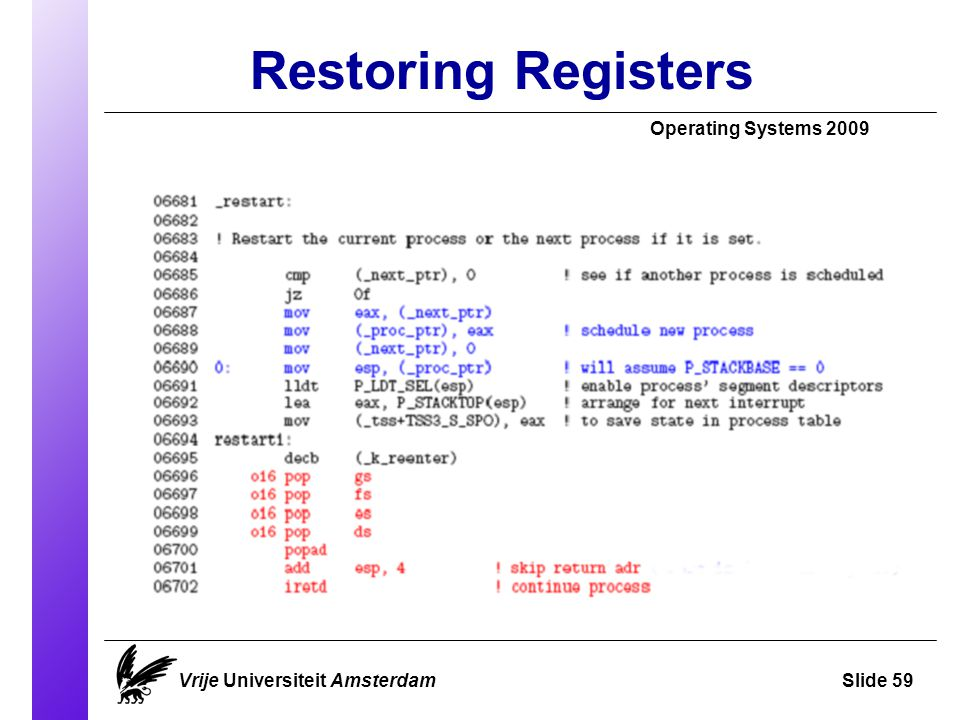 Restoring Registers Operating Systems 2009 Vrije Universiteit AmsterdamSlide 59