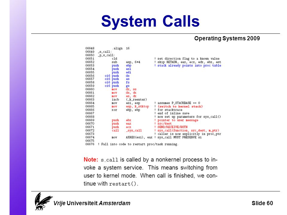 System Calls Operating Systems 2009 Vrije Universiteit AmsterdamSlide 60