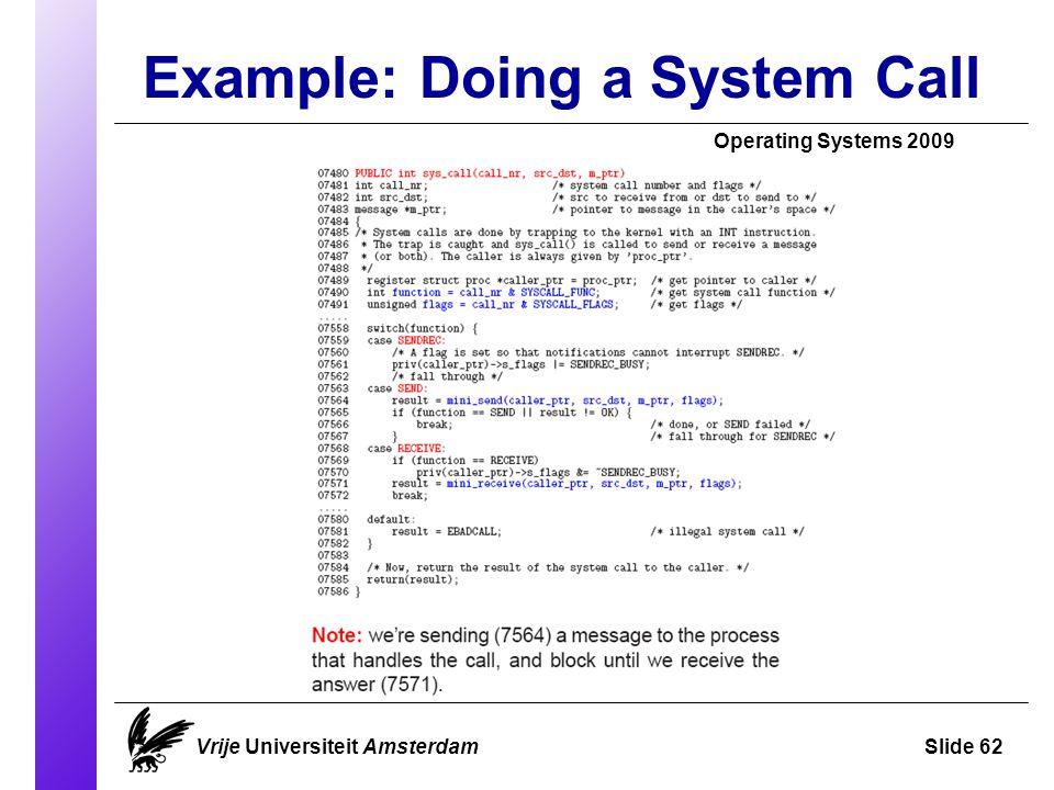 Example: Doing a System Call Operating Systems 2009 Vrije Universiteit AmsterdamSlide 62