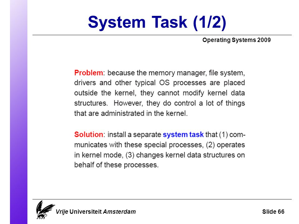 System Task (1/2) Operating Systems 2009 Vrije Universiteit AmsterdamSlide 66